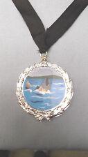 FISHING full color insert plastic silver medal black neck drape trophy