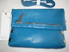 NEW HAMMITT Small VIP Snake Embossed Leather HANDBAG Indo Blue Silver Tone $225