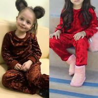 Children Toddler Kid Baby Girls Long Sleeve Shirt Tops+Pants Outfits Set Clothes