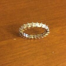 White Gold Plated Cubic Zirconia Eternity Princess Band 2.5 Mm Width Size 7
