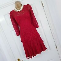 Holly Willoughby Dress Size 14 Red Lace Tiered Layered Evening Occasion Wedding