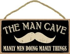"""The man cave (mustache picture) manly men doing manly things 10""""x5"""" NEW Wood 542"""