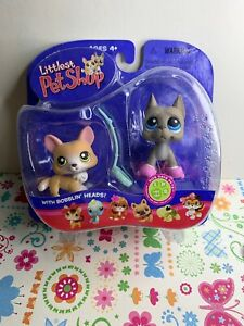 Littlest Pet Shop #183 #184 Pet Pairs Great Dane Corgi Grey Brown NIB RARE