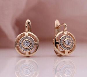 18K ROSE GOLD FILLED CIRCLE HOOP EARRINGS MADE WITH SWAROVSKI CRYSTAL GIFT GF51