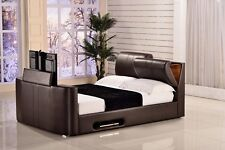 "Paris 5FT Kingsize Ottoman TV Bed with Headboard Storage Fits Upto 32"" TV Brown"