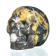 """1.93""""Natural Moss Agate Crystal Carved Skull Collectibles Reiki Healing #31B39"""