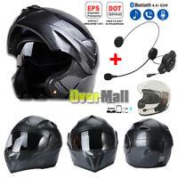 Carbon Fiber Motorcycle Street Motocross Helmet Full Face Dual Visor+BT Headset