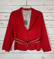 Elevenses Anthropologie Women's Size 14 Red Button Jacket Blazer NEW With TAGS
