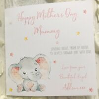 Personalised Elephant Angel Baby Loss Mother's Day Card Birthday Bereaved Mummy