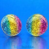 Bluebubble RETRO RAINBOW Glitter Earrings Kitsch Funky Festival 80s 90s Disco