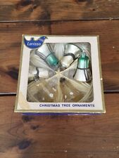 Vintage West Germany LANISSA Christmas Tree Ornaments Bell Green Silver