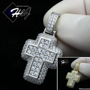 MEN WOMEN 925 STERLING SILVER ICY DIAMOND SILVER/GOLD CROSS PENDANT*SP265