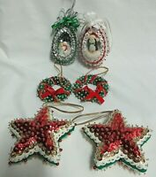 VTG  Handmade Red, Green & Gold Sequin & Bead Christmas Ornament LOT of 6