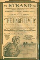 "Advertising-Newspaper Strand Theatre Movie U.S.Marines ""The Unbeliever"" 1918"