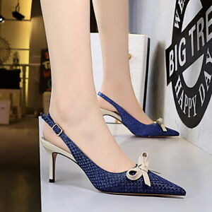Women Fabric Braided Pointed Toe Sandals Slingback Pumps Slip On Mid Heels Shoes