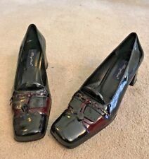 Mezlan Black & Burgundy Patent Leather Heels - 8M