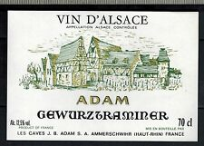 "Etiquette """" Vin D'Alsace - Gewurztraminer ""Adam - Réf.n°280"
