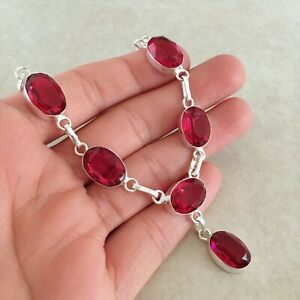 """NATURAL OVAL PINK RUBELLITE TOURMALINE 925 STERLING SILVER NECKLACE 18"""""""