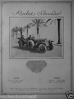 PUBLICITÉ 1919 ROCHET SCHNEIDER LA VOITURE DE QUALITÉ LYON PARIS NICE MARSEILLE