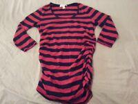 Womens Michael Kors Shirt Blouse Dress L Large Red Navy Blue