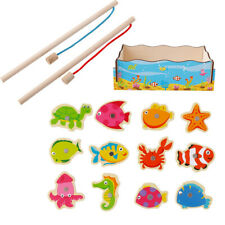 Kids Toddler Magnetic Wooden Fishing Toys Marine Cognition Game Educational US
