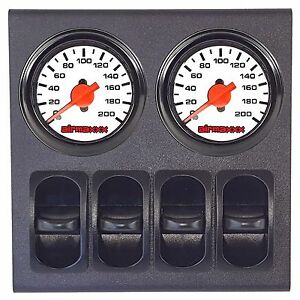 2 Dual Needle White Air Gauges & 200 psi Display Panel with 4 Paddle Switches