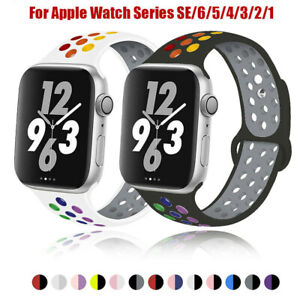 Replacement Silicone Sport Band 38mm 42mm For Apple Watch Series SE 6 5 4 3 2 1