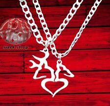 New Buck and His Doe Heart shaped Deer Elk Split Couple Necklace