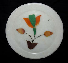 """7"""" Marble Plate Inlaid Pietra Dura Floral Mosaic Fine Design Home Decor Gifts"""