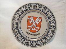 vintage REGENSBURG plate wall decor skeleton key coat of arms Gerzit W. Germany