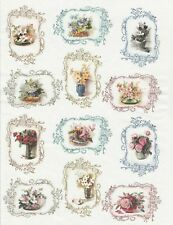 Rice Paper for Decoupage Scrapbook Craft Sheet Flowers in Frame