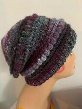 Womens Dellas Purple Mix Woollen Crochet Slouch Beanie Hat - Handmade