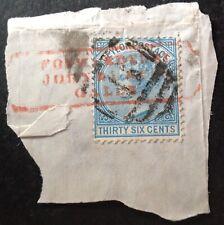 Ceylon 1872-80 36 Cents Blue stamp on piece vfu