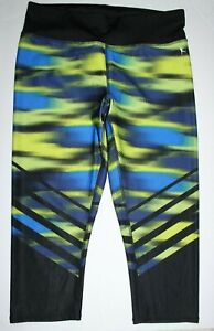 Danskin Now Mid Rise Fitted Capri Pant Size M Blue and Yellow Print