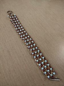 Hand Crafted Bronze Bead and White Pearl Bracelet