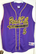 Mesh Jersey Shirt Road Kill Dallas #5 Razor Button Front Sleeveless XL Purple