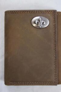 ZEP PRO New Orleans Fleur de Lis Crazy Horse Leather trifold Wallet Tin Gift Box