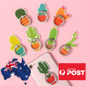 Cute Finger Ring Holder Mount Stand Grip iPhone Samsung Phone Cactus Plant