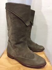 VTG❤️ GUCCI Riding Boots Suede Leather Fold Over Taupe Sz 37 7