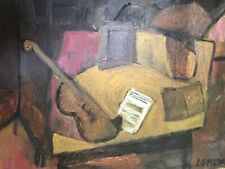 Violin Music Lesson Still Life Original Modernist Oil Painting By Listed Artist