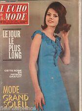 L'écho de la mode N°23 du 10 juin 1962 mode vintage