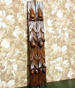 Pair fruit leaf wood carving corbel bracket Antique french architectural salvage
