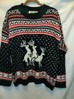 Reindeer Threesome Ugly Christmas Sweater  Festified Holiday Clothing Mens XXL