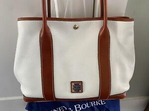 Dooney & Bourke White Tote Shoulder Bag Brown Leather Trim EUC