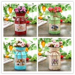 Retro Iron Metal Rustic Milk Churn Vase Planter Flower Herb Pot Ornament Deco