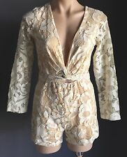 Winner! WINONA Floral Cream Lace Wrap Around Playsuit/Romper/Jumpsuit Size 8