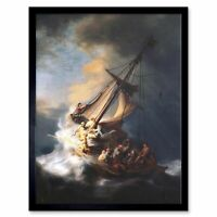Rembrandt Christ Storm On Lake Of Galilee Old Painting 12X16 Inch Framed Print