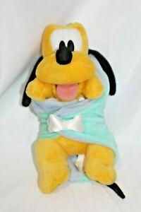"Disney Babies Baby PLUTO Plush Dog Security Blanket Yellow Blue 14"" Stuffed Toy"