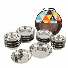 Outdoor Camping Dinnerware Stainless Steel Barbecue Picnic Plate Bowl 18pcs Set