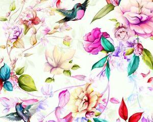 Magnolia flowers digital print cotton 100 % cotton bird fabric